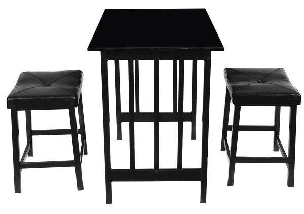 Giantex 3 PCS Counter Height Dining Set Faux Marble Table 2 Chairs Kitchen Bar Furniture Black