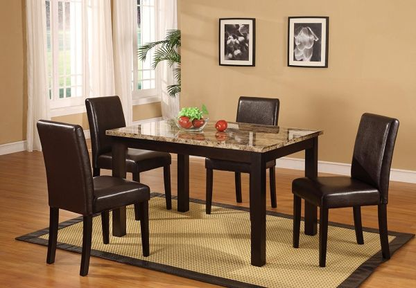 Roundhill Furniture Briden Dark Artificial Marble Top Dinette Dining Set
