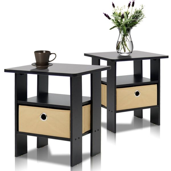 Furinno 2-11157EX End Table Bedroom Night Stand Petite Espresso