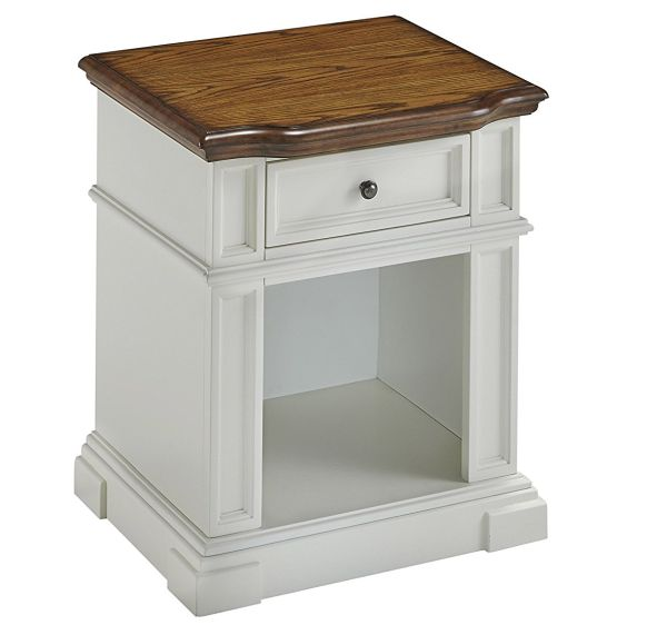 Home Styles 5002-42 One Drawer Americana Night Stand White and Distressed Oak