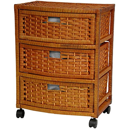 Oriental Furniture 23 Natural Fiber Chest of Drawers - Honey