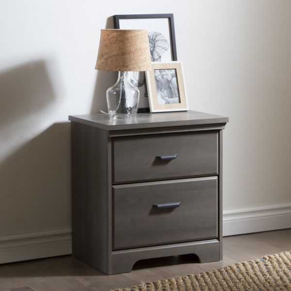 South Shore Versa 2-Drawer Night Stand Gray Maple