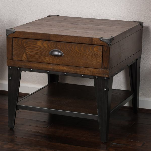 Industrial Modern Square Dark Oak Side End Table Accent Nightstand with Shelf and Storage Drawer