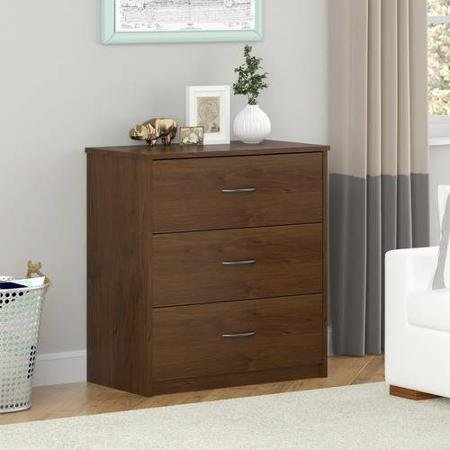 Mainstays 3 Easy-glide Drawer Dresser Medium Oak Nightstand Finish Northfield Alder Brown