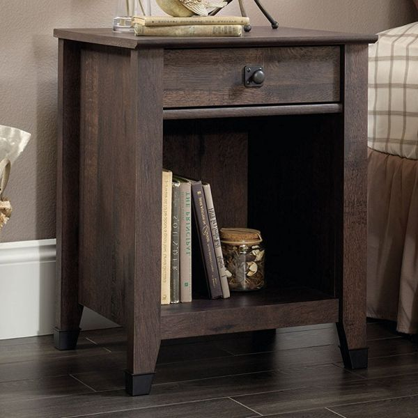 Sauder Carson Forge Nightstand in Coffee Oak