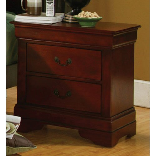 Coaster Fine Furniture 200432 Louis Philippe Style Nightstand Cherry