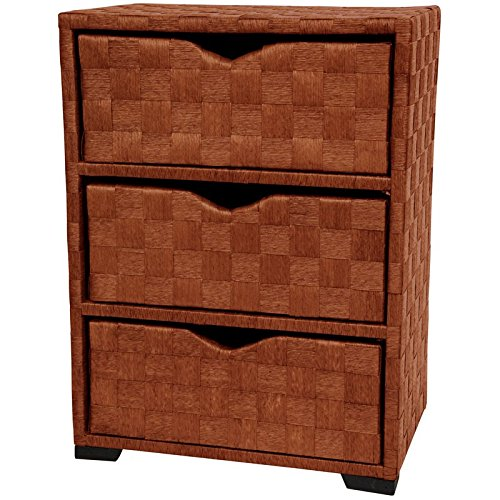 Oriental Furniture Natural Fiber Chest of Drawers Three Drawer Honey