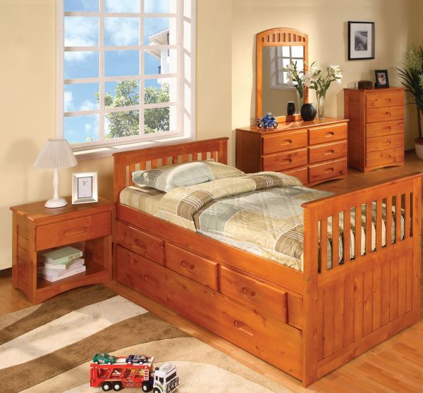 Cambridge 1-Drawer in Honey Oak Childrens Nightstands