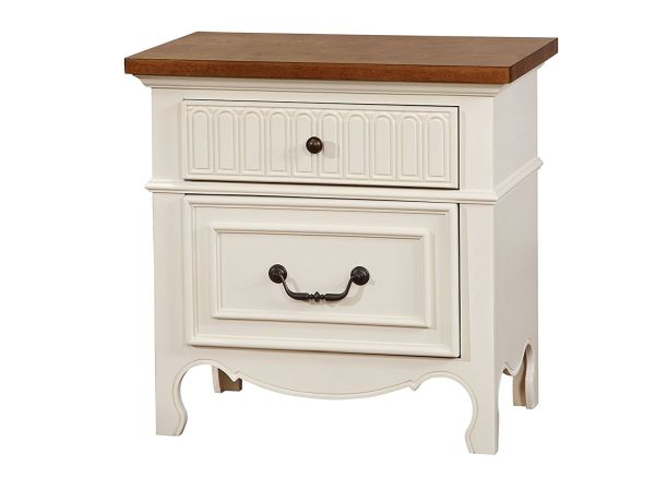 Inside + Out Iohomes Bailyne Cottage Style Two Tone 2-Drawer Nightstand, Not Applicable, White & Oak