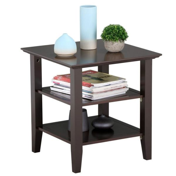 Topeakmart 3 Tier Bedside Nightstand Bedroom Living Room Sofa Side End Table Furnture Espresso
