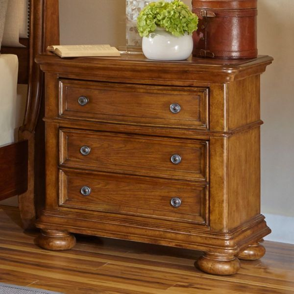 Samuel Lawrence 8674-050 Paxton 3 Drawer Nightstand with Decorative Hardware Bun Feet Open Shelf and Molding Detailing in Medium Wood