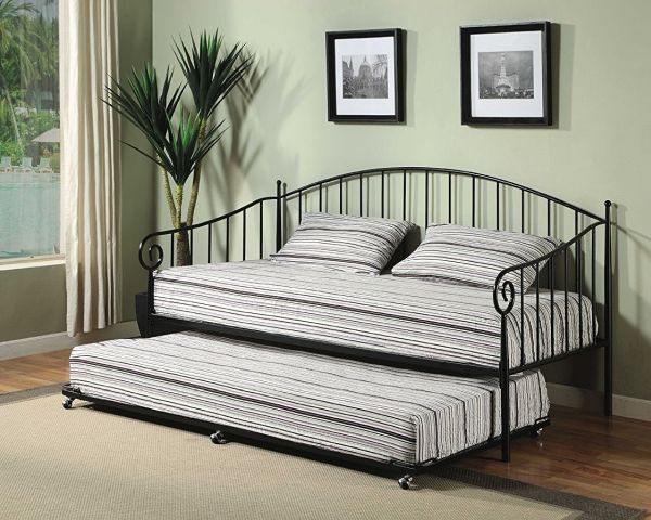 Kings Brand Matt Black Metal Twin Size Day Bed Frame With Metal Slats