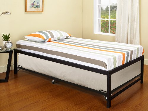 Twin Size Day Bed Frame With Roll Out Trundle Black