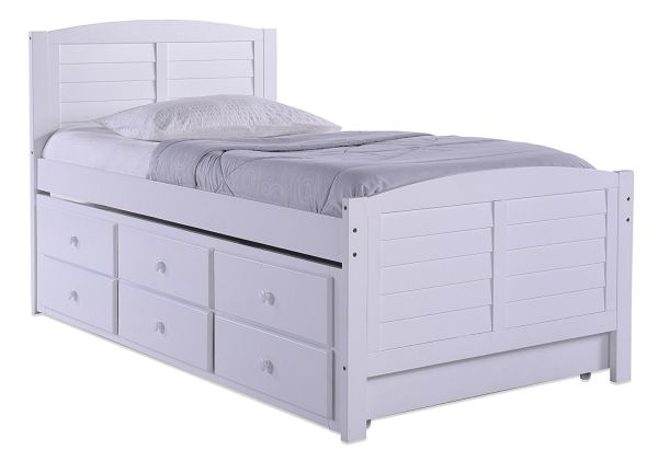 Better Homes and Gardens 09413-121 Panama Beach Captains Bed with Trundle Twin White