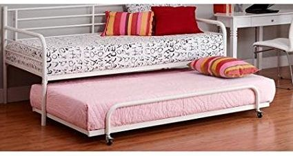Sturdy Metal Frame Space-Saving Functionality Twin Metal Daybed Trundle Multicolor