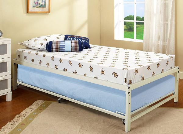 Twin Size Day Bed Frame With Roll Out Trundle White