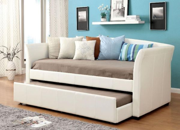 Baylis Contemporary Leather Twin Daybed with Trundle - White