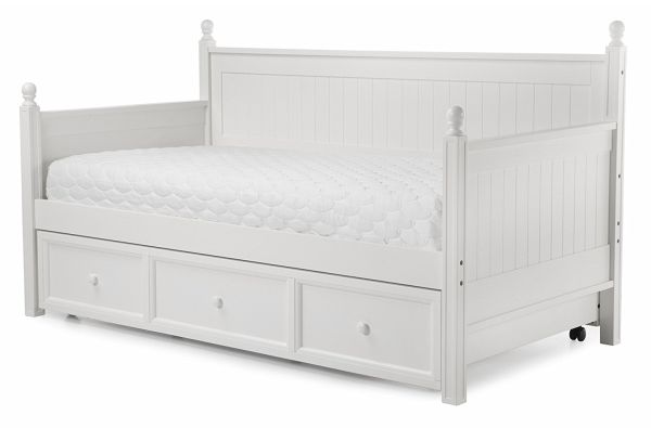 White Wood Trundle Bed Frame