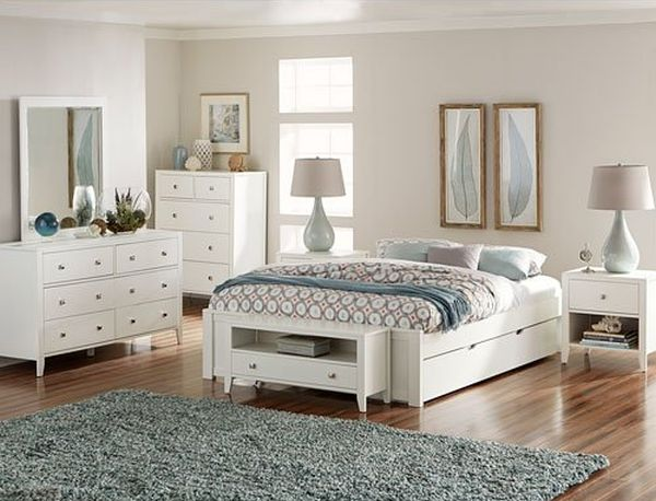 NE Kids Pulse Queen Platform Bed with Trundle in White