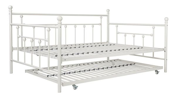 DHP Manila Full Size Daybed and Twin Size Trundle Bed with Metal Frame White