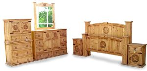 King Size Mansion Rustic Bedroom Set Free Delivery 6 Pcs