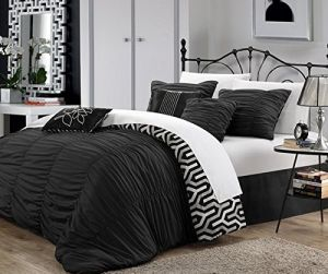 7 Piece Queen Dark Black Silver Ruched Comforter Set, Stylish Luxury Bedding, For Modern Master Bedrooms, Gorgeous and Beautiful Quality, Ruffled Pattern, Vibrant White And Light grey