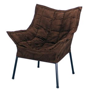 Casual Home Milano Chair with Black Metal Frame and Microsuede Outer Cover, Brown