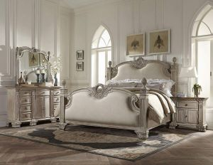 Chatelet French Provincial 5 Piece Cal King Bedroom Set - White Washed with Weathered Brown Top