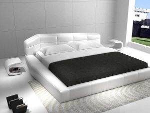 JM Furniture Dream White Leather Queen Size Bedroom Set