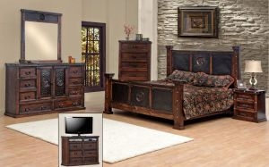 King Size Copper Creek Bedroom Set, Dark Stain, Western, Rustic