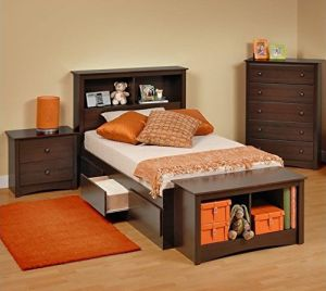 Prepac Fremont 5-Piece Twin Youth Bedroom Set in Espresso
