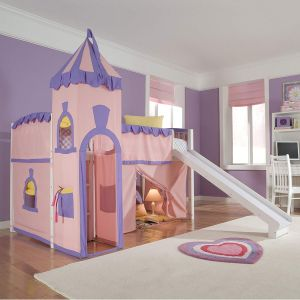 Schoolhouse Twin Princess Loft Bed w Slide, Perfect for Your Girls Bedroom Furniture Set