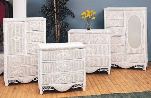 Wicker Charlotte 5 Drawer Dresser w Door Natural
