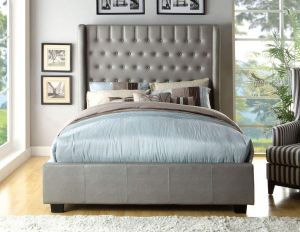 247SHOPATHOME IDF-7055EK Bed-Frames, King, Silver
