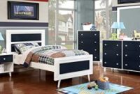 Alivia Blue and White Finish Full Size 5-Piece Bedroom Set