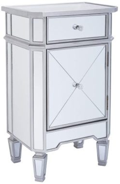 Monarch Specialties 3702, Accent Chest 1 Drawer 1 Cabinet, Mirrored, Brushed Silver Trim, 29 H