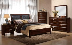 Roundhill Furniture Emily 111 Contemporary Wood Bedroom Set with Bed, Dresser, Mirror, Night Stand, Chest, King, Merlot