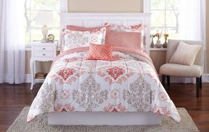 Teen Girls Pink Coral Damask 8 Piece Comforter Set, KING Size Bed in A Bag