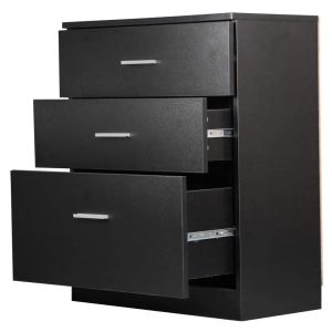 Yaheetech Black Chest of Drawers Bedroom Dressers, 3 Drawer Storage Cabinet Funiture