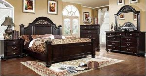 247SHOPATHOME IDF-7129Q Bed-Frames, Queen, Walnut
