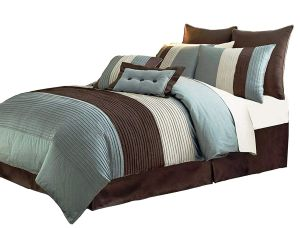 Chezmoi Collection 6-Piece Luxury Stripe Comforter Bed-in-a-Bag Set, Blue Brown Beige, Twin