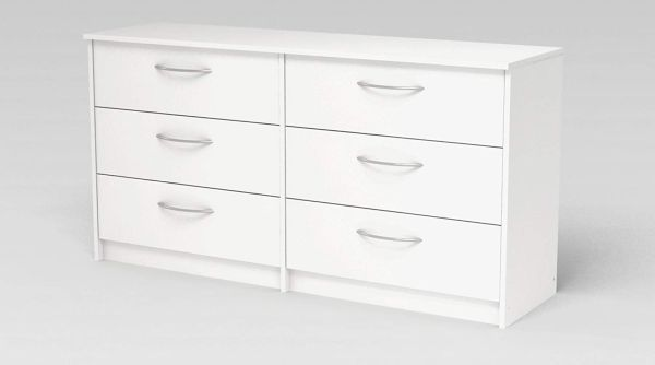 6 Drawer Dresser - Modern Contemporary Storage Chest Organizer Six Furniture Bedroom (Antique White)