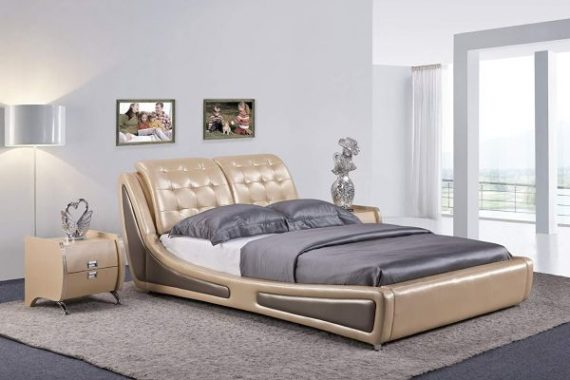 Container Direct Queen Size Platform Bed, Pearl Gold Gray