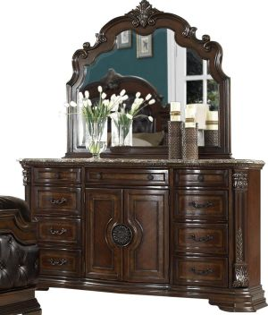 HEFX Aosta Marble Top Dresser and Mirror Set in Warm Cherry