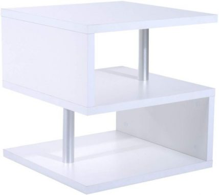 HomCom Modern Contemporary Multi Level S-Shaped End Table (White)