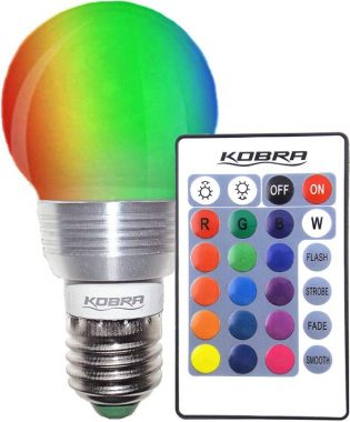 KOBRA LED Bulb Color Changing Light Bulb with Remote Control 16 Different Color Choices Smooth, Flash or Strobe Mode- Premium Quality & Energy Saving Retro LED Lamp