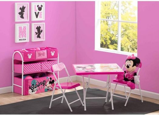 NEW! Disney Minnie Mouse Playroom Solution Set with Folding Activity and Play Table and Chair Set and 6 Bins Toy Organizer Storage in Color Pink