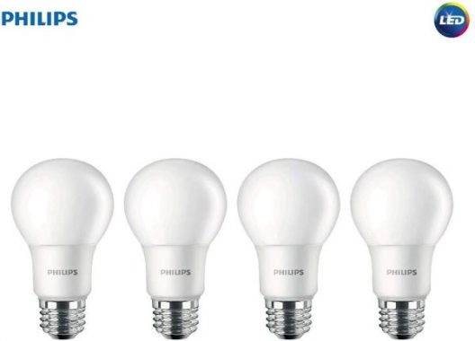 Philips LED Non-Dimmable A19 Frosted Light Bulb 1500-Lumen, 5000-Kelvin, 14-Watt (100-Watt Equivalent), E26 Medium Screw Base, Daylight, 4-Pack, 455717