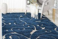 Safavieh Florida Shag Collection SG455-6511 Scrolling Vine Dark Blue and Cream Graceful Swirl Area Rug