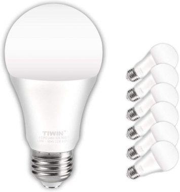 TIWIN LED Light Bulbs 100 watt Equivalent (11W),Soft White (2700K), General Purpose A19 LED Bulbs,E26 Base,UL Listed, Pack of 6